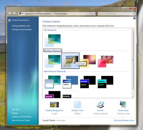 Janela de temas do Windows 7