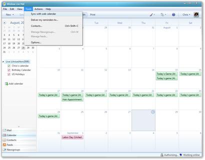 Windows Live Mail com o calendário aberto