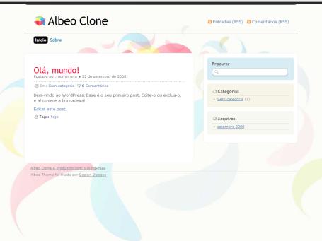 Tema Albeo na WordPress.org e traduzido para Português