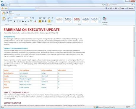 Edição de documento no Word online