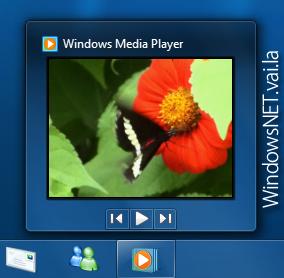 A miniatura da janela do Windows Media Player possuem os botões básicos, avançar, voltar e play!