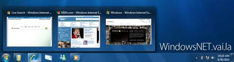 Novas miniaturas de janela. Aquelas 2 barras no botão do IE significam que existem 3 janelas dele abertas
