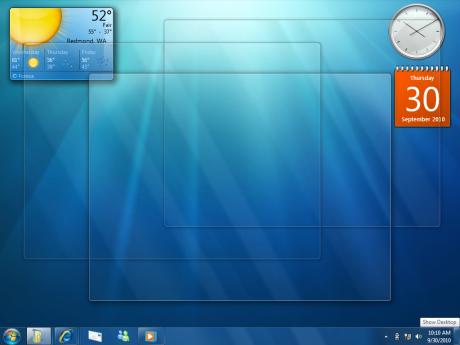 Ele serve para mostrar o desktop, mantendo as janelas, mas sem o conteúdo delas!