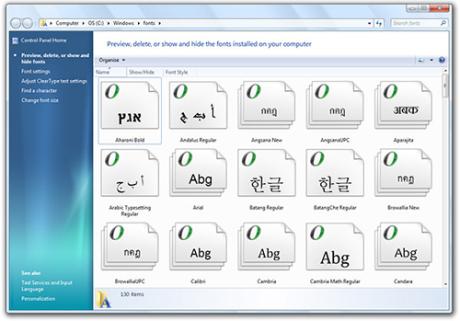 O novo gerenciador de fontes mostra uma pré-visualização da fonte, sem precisar abrir o arquivo