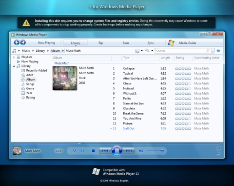 Visual do Windows Media Player 12 do 7 no Vista!