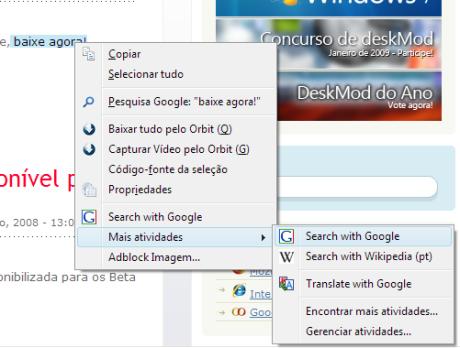Web Activities do IE8 no Firefox