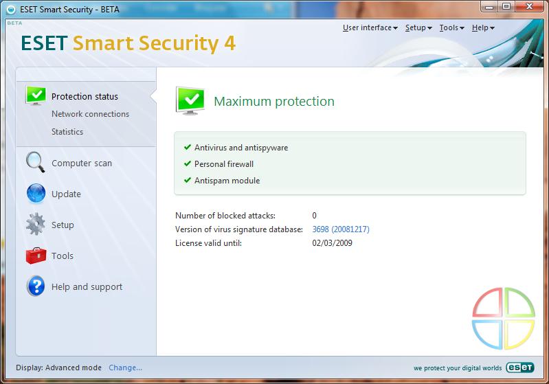 Interface do ESET Smart Security 4 Beta