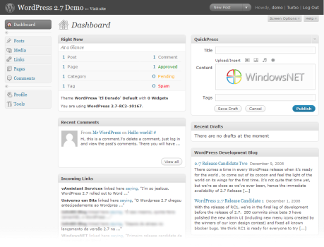 WordPress 2.7 RC2