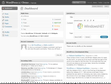 WordPress 2.7 RC2
