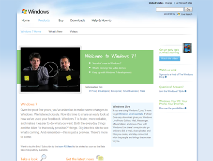 Novo site do Windows 7
