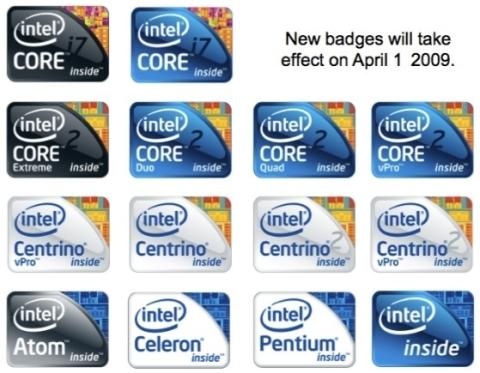 Novos logos da Intel