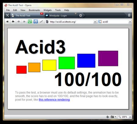 Opera 10 com 100 pontos no Acid3