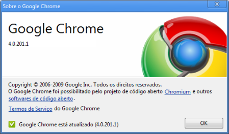 Sobre o Google Chrome 4.0.201.1