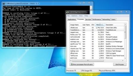 Windows 7 com chrsk, que está consumindo 90% da memória