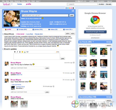 Novo visual do orkut concentra as principais ações do usuário na home. (Imagem: Blog oficial do orkut)